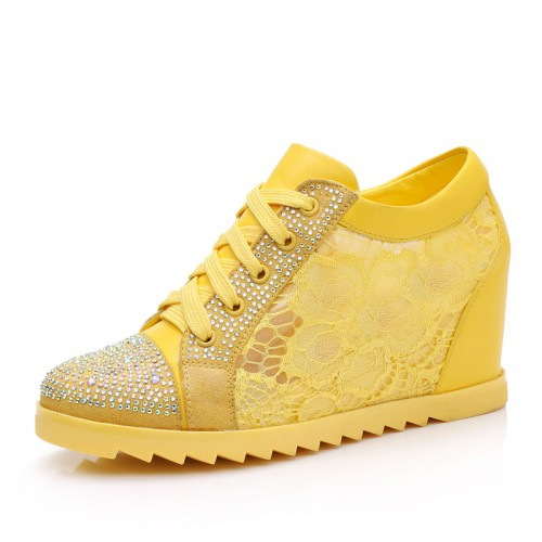 lace openwork women height increasing shoes sports casual elevator shoes taller 8cm / 3.15inches