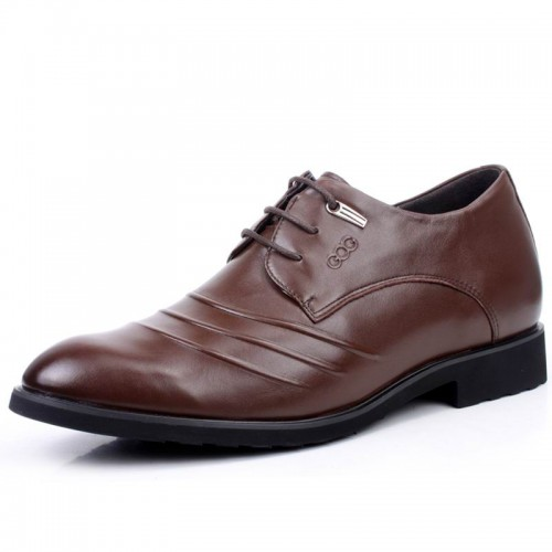 Dress lace-up men's leather elevator shoes that give you height 6.5cm / 2.56inches tuxedos shoes