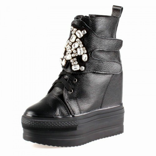 Get taller 13cm / 5inch elevator shoes for women  leather casual platform shoes
