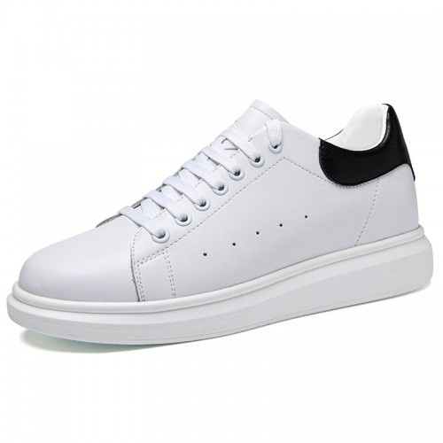 Classic Elevator Tennis Shoe White Fashion Trainers Make You Look Taller 2.4 inch / 6 cm