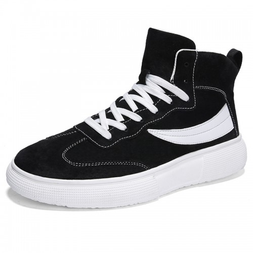 Black High Top Elevator Skate Shoes for Men Height 2.8cm / 7cm Leather Lace Up Sneakers