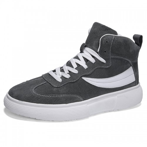 Gray High Top Elevator Skate Shoes Add Taller 2.8cm / 7cm Leather Lace Up Sneakers