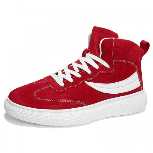 Red High Top Men Elevator Skate Shoes Gain Taller 2.8cm / 7cm Leather Lace Up Sneakers