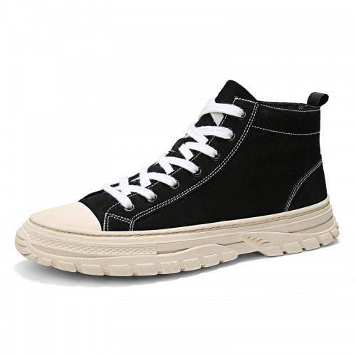 Trendy Height Increasing Canvas Shoes Add Taller 2.8inch / 7cm Black Flannelette High Top Street Dance Sneakers