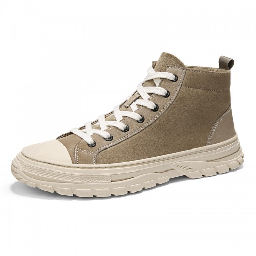 Trendy Height Elevator Canvas Shoes for Men Increase 2.8inch / 7cm Khaki Flannelette High Top Street Dance Sneakers