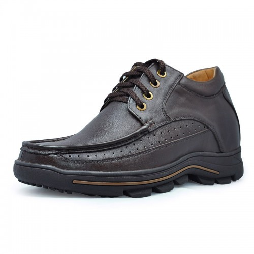 Latest brown men's casual style height increasing elevator shoes make you taller  8 cm / 3.15 inches