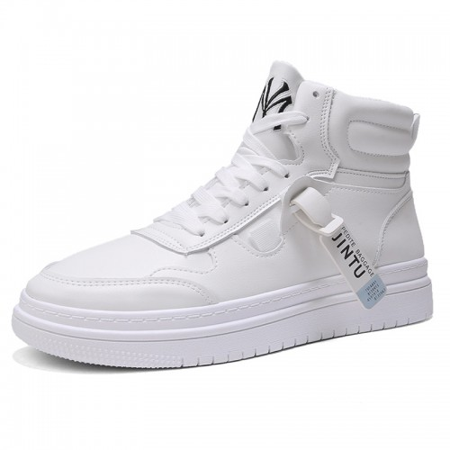 3 inch height incrasing White Fashion Sneakers Height Elevator High Top Skate Shoes