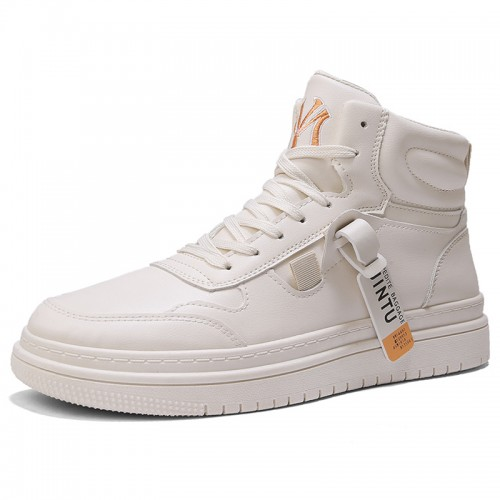 3 inch Taller Beige Fashion Sneakers Height Increasing High Top Skate Shoes