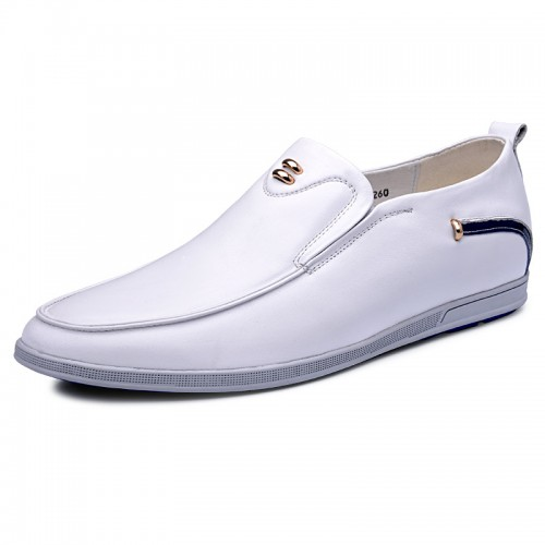 Slip on heel lifts casual shoes lightweight loafers 2.4inch / 6cm White