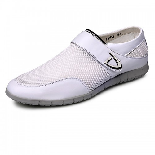 Comfortable elevator Velcro loafers height sneakers 2.4inch / 6cm White