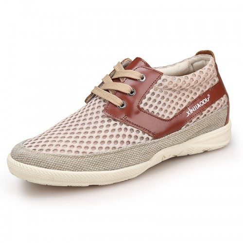 Breathable elevator casual shoes 6cm / 2.4inch beige height walking shoes