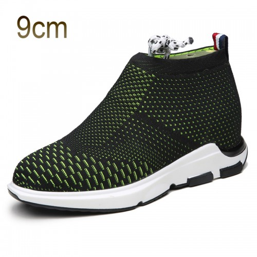 Black-Green Taller Flyknit Shoes for Men 3.5inch / 9cm Add Altitude Slip on Loafers