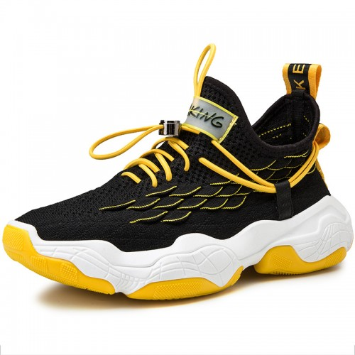 Black Yellow Men Flyknit Trail Walking Lift Shoes Non Sip Fashion Sneakers Increase Height 2.8 inch / 7 cm