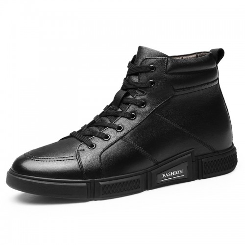 Korean Elevator Men Leather Boots Winter Warm High Top Skatboarding Shoes Add Taller 2.4 inch / 6 cm