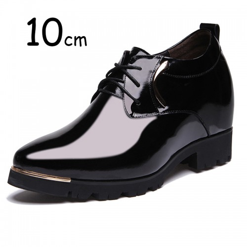 Extra height 10cm / 3.9 inch shiny cowhide elevator tuxedo shoes