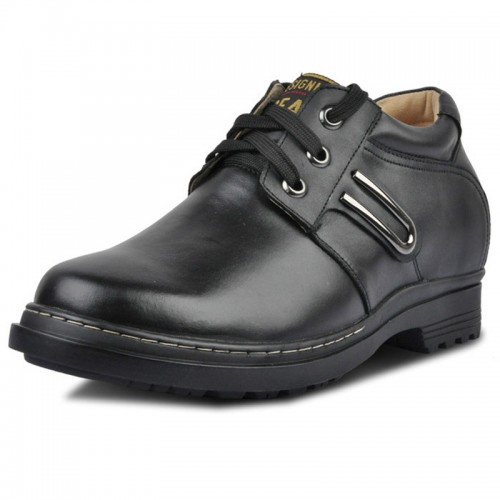 men casual shoes grow taller 9cm / 3.54inches leather elevator shoes