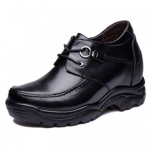 Mature elevator casual shoes get taller 10cm / 3.9 inch lace up calfskin shoes