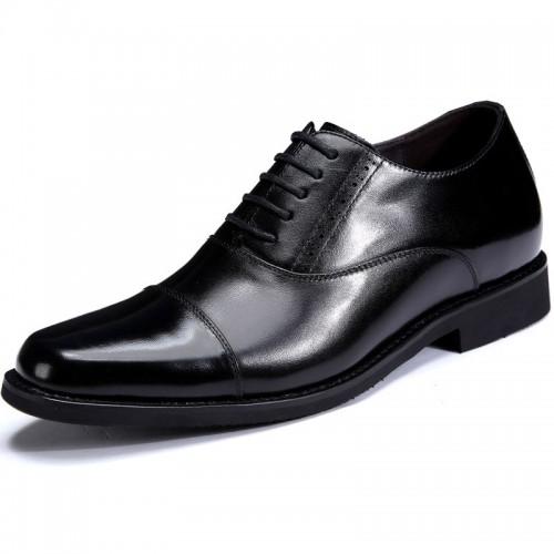 Premium tuxedo elevator shoes 7cm / 2.75inch black cap toe taller wedding shoes