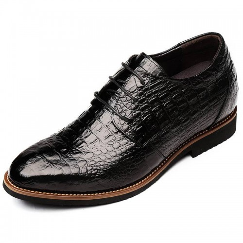 Alligator Taller Business Formal Shoes for Men Gain Height 2.4 inch / 6 cm Lace Up Elevator Dress Shoes