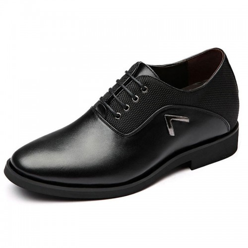 3inch Hidden Lift Business Shoes Black British Elevator Formal Oxfords Increase Height 7.5 cm