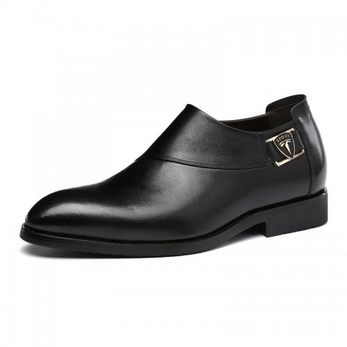 Best elevator groom wedding shoes get taller 6cm / 2.36inch black slip on business formal shoes