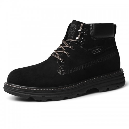 Trendy Elevator Hiking Boots Black Spacious Toe Casual Chukka Boot Add Taller 2.4 inch / 6 cm