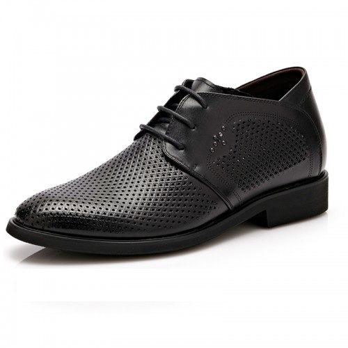 UK breathable elevator dress sandals 6cm / 2.36inch black men taller shoes