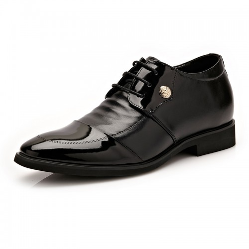 Crafted genuine leather elevator business shoes 6cm / 2.36inch breathable cap toe oxfords