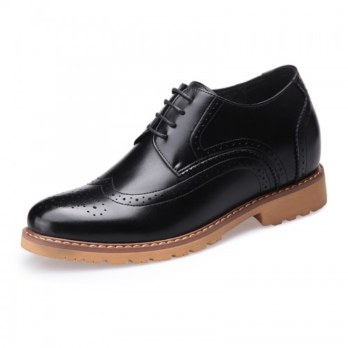 Clearance brogue wing tip elevator wedding shoes 8cm / 3.2inch lace up business formal shoes