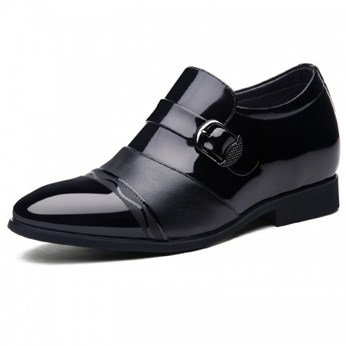 Elevator buckle strap dress loafers cap toe taller wedding shoes 2.8inch / 7cm Black