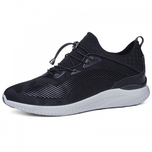 3 inch black ultra light elevator sneakers for men height increasing