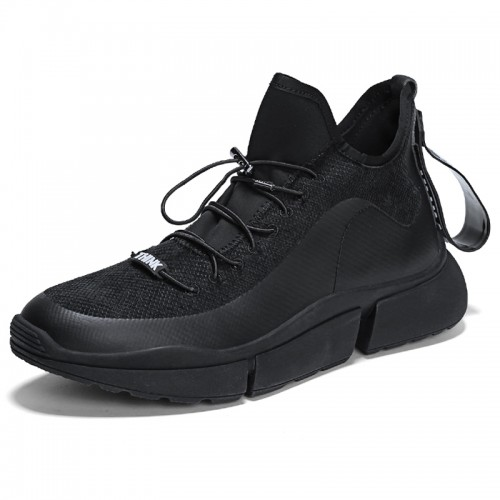 Black Youth Elevator Trainers Make You Taller 2.8inch / 7cm Slip On Casual Sports Shoes