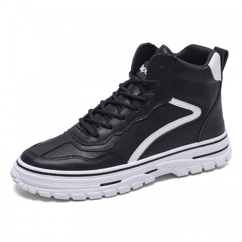 Black Trendy Hidden Heel Skateboarding Shoes Men High Top Elevator Sneakers Add Taller 2.8inch / 7cm