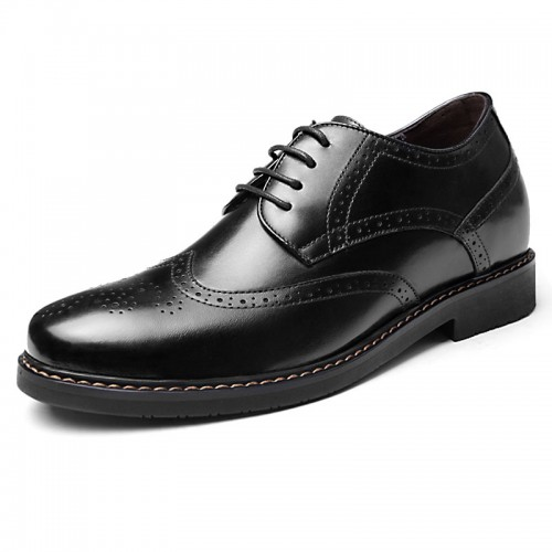 Black elevator wing tip dress shoes 6cm / 2.36inch brogue wedding shoes