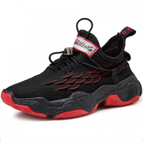 Black Red Men Flyknit Trail Walking Elevator Shoes Non Sip Fashion Sneakers Make You Look Taller 2.8 inch / 7 cm