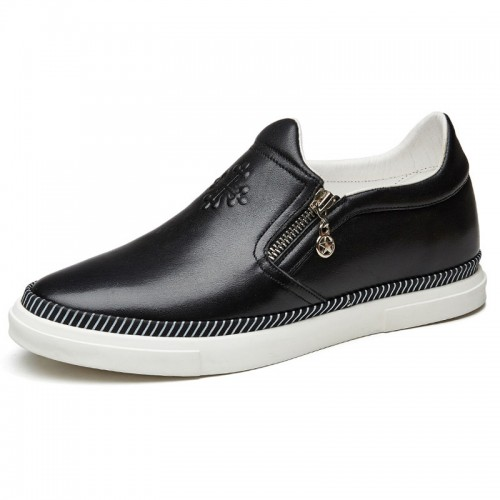 Calfskin side zip slip on height casual loafers 2.4inch / 6cm Black