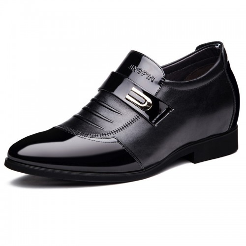 Cap toe slip on height increasing dress loafers 2.8inch / 7cm Black