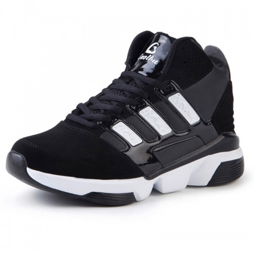 Elevated basketball shoes height increasing 8cm / 3.2inch black sports shoes