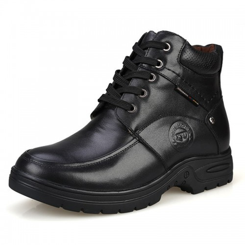Black premium leather elevator combat boot men height 6.5cm / 2.56inches cotton boots