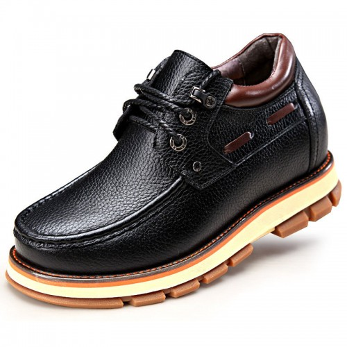 British men's casual elevator shoes add taller 9cm / 3.54inch black spacious toe hidden heel shoes