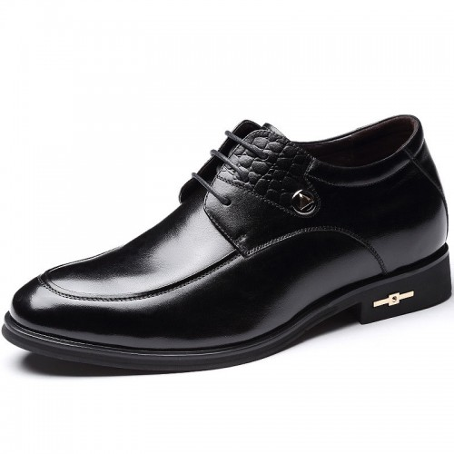 Exalted elevator dressy shoes gain taller 7cm / 2.75inch black men wedding shoe