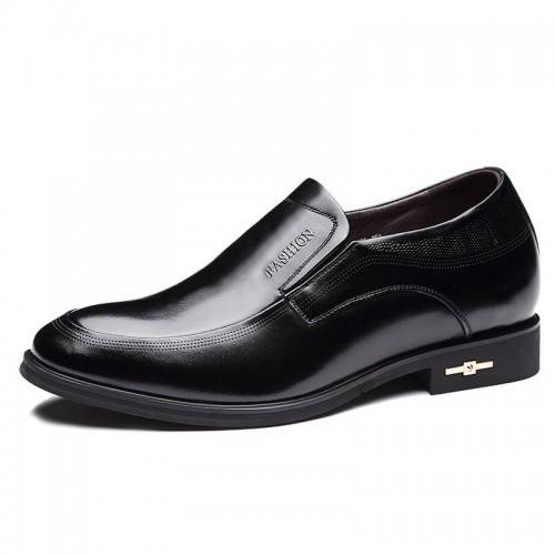 Unique calfskin elevated formal shoes get taller 7cm / 2.75inch black slip on business shoes