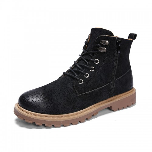 European Elevator Martin Boots Black Zip Casual Work Boots Taller Hiking Boot 3.6inch / 9cm