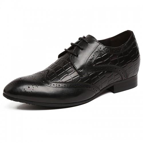 Taller 2.4inch / 6cm British black elevator bullock carve pointy toe formal shoes