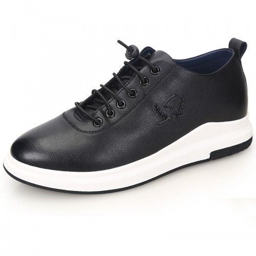 Simple Elevator Shoes for men Taller 2.4inch / 6cm Black Lace Up Casual Shoes