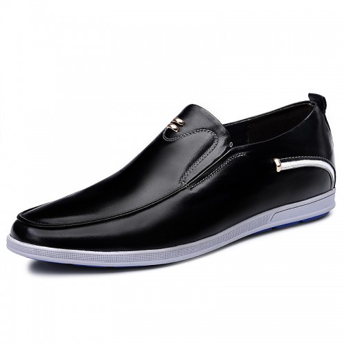 Trendy elevator slip on driving shoes gain tall loafers 2.4inch / 6cm Black