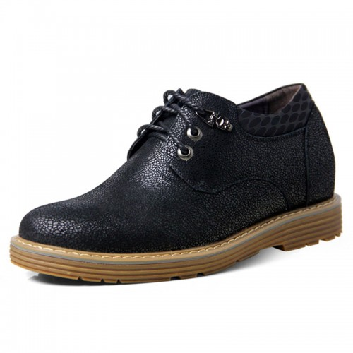 Black spacious toe shoes that add height 6.5cm / 2.56inches working elevator casual shoes