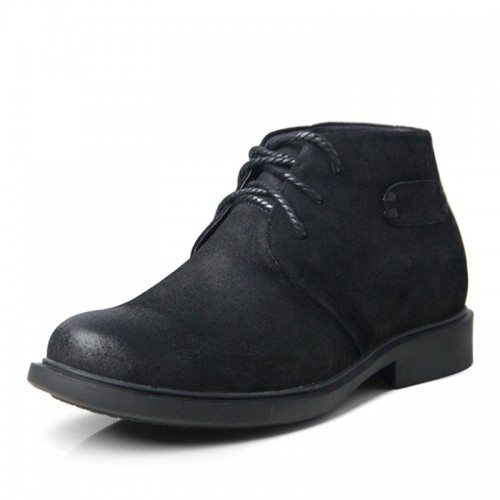 Classic black elevator big shoes for extra height 6.5cm / 2.56inches nubuck casual shoe