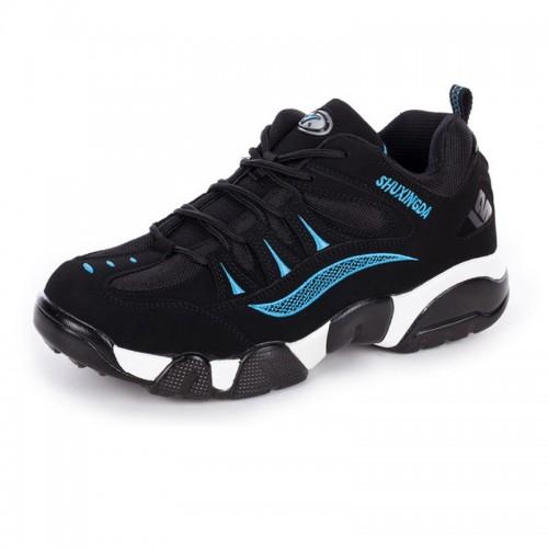 Men heel height 8cm / 3.2inch elevated outdoor shoes black-blue