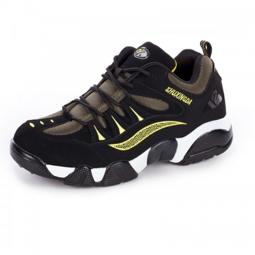 Men heel height 8cm / 3.2inch elevated outdoor shoes black-yellow